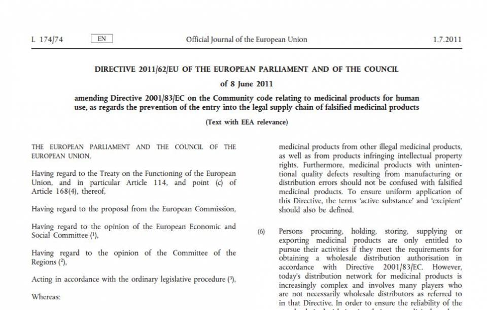 falsified medicines directive requirements for compliance